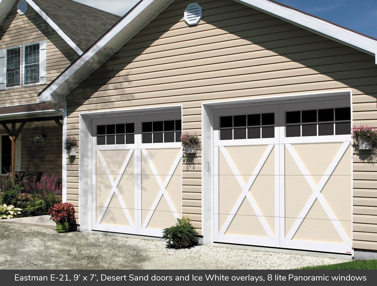 Eastman E-21, 9' x 7', Desert Sand doors and White overlays, 8 lite Panoramic windows